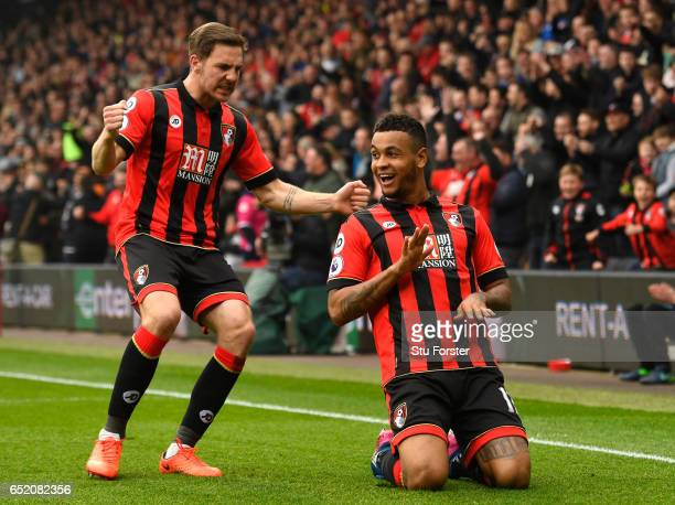 Joshua King of AFC Bournemouth celebrates scoring his sides second goal during the Premier League match between AFC Bournemouth and West Ham United...