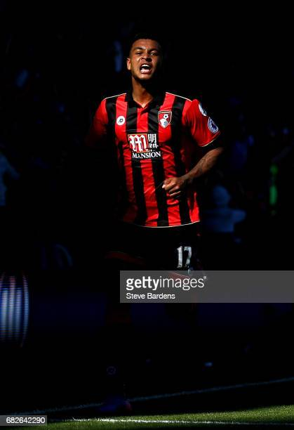 Joshua King of AFC Bournemouth celebrates scoring his sides second goal during the Premier League match between AFC Bournemouth and Burnley at...