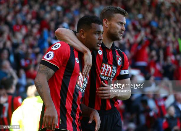Joshua King of AFC Bournemouth celebrates scoring his sides second goal with Simon Francis of AFC Bournemouth during the Premier League match between...