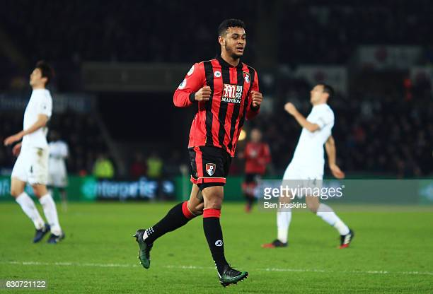 Joshua King of AFC Bournemouth celebrates scoring his team's third goal during the Premier League match between Swansea City and AFC Bournemouth at...