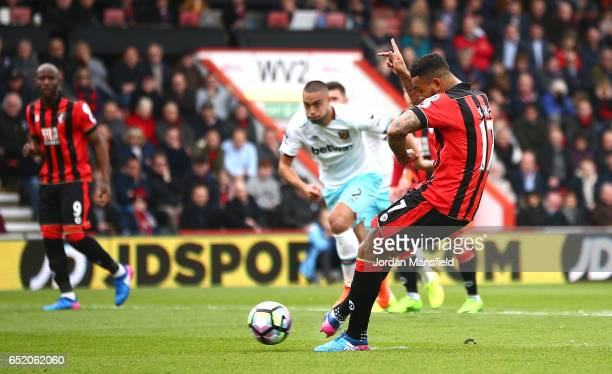 Joshua King of AFC Bournemouth misses a penalty during the Premier League match between AFC Bournemouth and West Ham United at Vitality Stadium on...