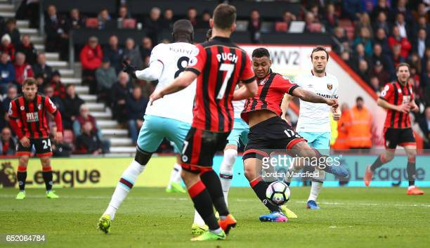 Joshua King of AFC Bournemouth scores his sides first goal during the Premier League match between AFC Bournemouth and West Ham United at Vitality...