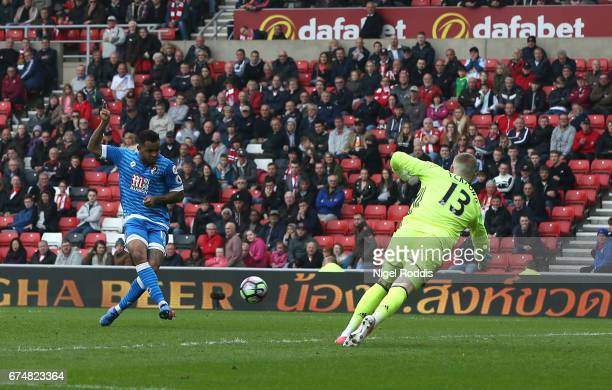 Joshua King of AFC Bournemouth scores his sides first goal during the Premier League match between Sunderland and AFC Bournemouth at the Stadium of...