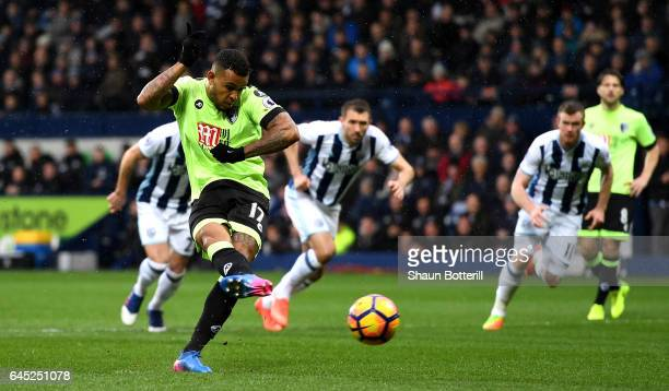 Joshua King of AFC Bournemouth scores his sides first goal from the penalty spot during the Premier League match between West Bromwich Albion and AFC...