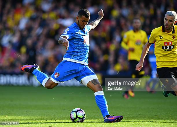 Joshua King of AFC Bournemouth scores his sides second goal during the Premier League match between Watford and AFC Bournemouth at Vicarage Road on...