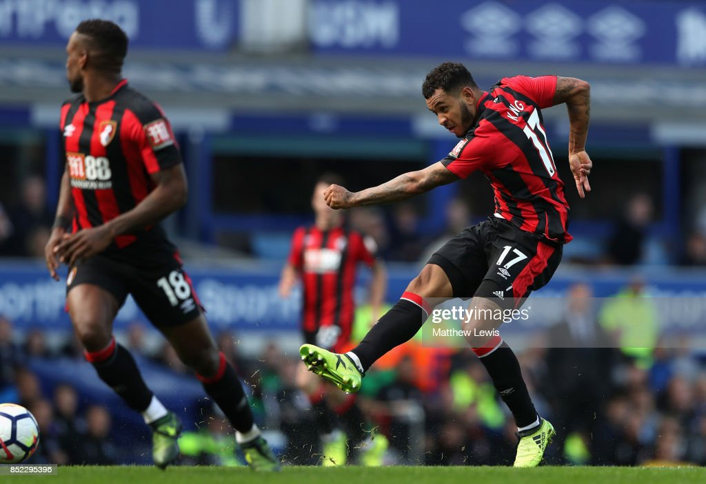 Joshua King of AFC Bournemouth scores the opening goal during the Premier League match between Everton and AFC Bournemouth at Goodison Park on September 23, 2017 in Liverpool, England.