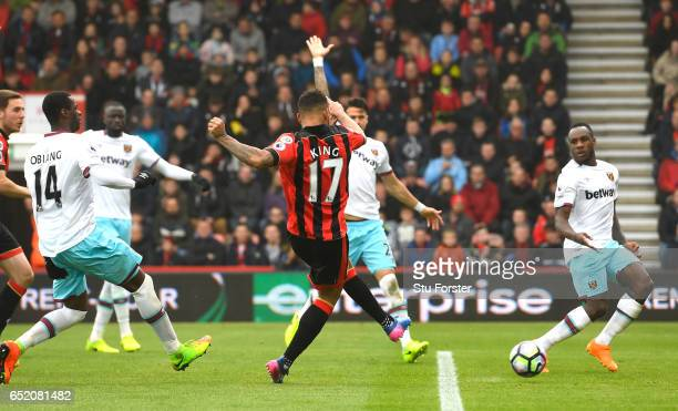 Joshua King of AFC Bournemouth scores their second goal during the Premier League match between AFC Bournemouth and West Ham United at Vitality...