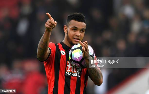 Joshua King of AFC Bournemouth shows appreciation to the fans after the Premier League match between AFC Bournemouth and West Ham United at Vitality...