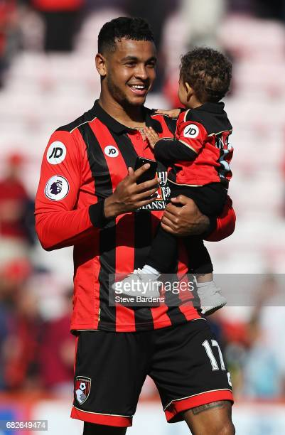 Joshua King of AFC Bournemouth takes part in a lap of honor after the Premier League match between AFC Bournemouth and Burnley at Vitality Stadium on...