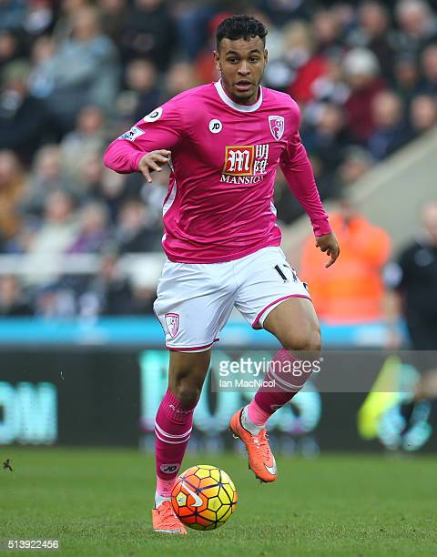 Joshua King of Bourenmouth controls the ball during the Barclays Premier League match between Newcastle United and AFC Bournemouth at St James Park...