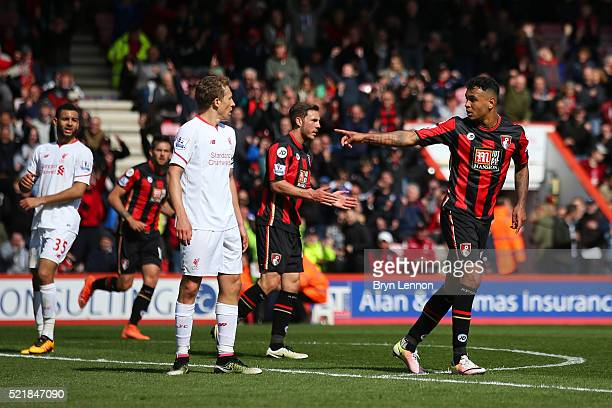 Joshua King of Bournemouth celebrates after scoring his team's first goal of the game during the Barclays Premier League match between AFC...