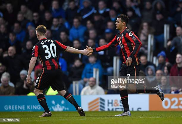 Joshua King of Bournemouth celebrates scoring his team's first goal with his team mate Matt Ritchie during the Emirates FA Cup Fourth Round match...