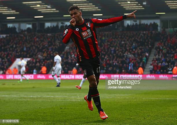 Joshua King of Bournemouth celebrates scoring his team's second goal during the Barclays Premier League match between AFC Bournemouth and Swansea...