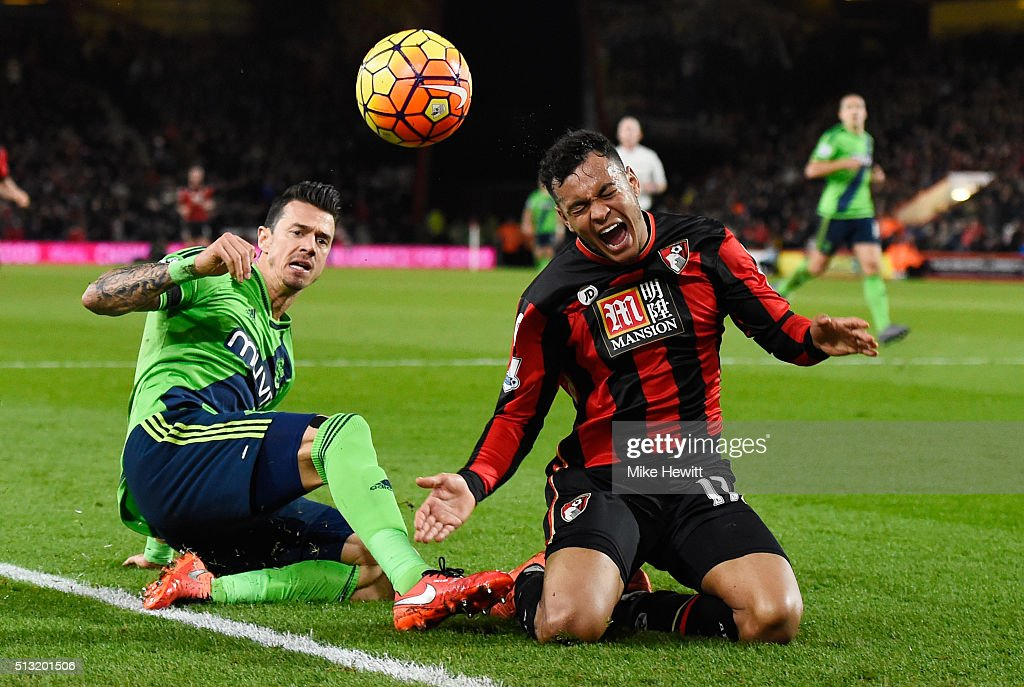 Joshua King of Bournemouth is tackled by Jose Fonte of Southampton during the Barclays Premier League match between A.F.C. Bournemouth and Southampton at Vitality Stadium on March 1, 2016 in Bournemouth, England.