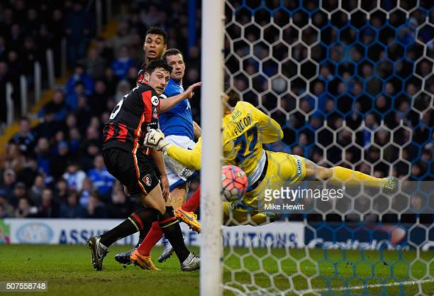 Joshua King of Bournemouth scores his team's first goal during the Emirates FA Cup Fourth Round match between Portsmouth and AFC Bournemouth at...