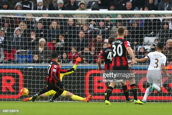 Joshua King of Bournemouth scores his team's first goal during the Barclays Premier League match between Swansea City and AFC Bournemouth at the...