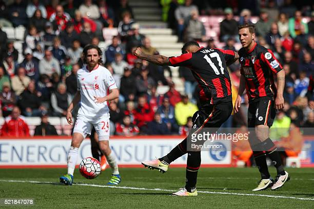 Joshua King of Bournemouth scores his team's first goal of the game during the Barclays Premier League match between AFC Bournemouth and Liverpool at...