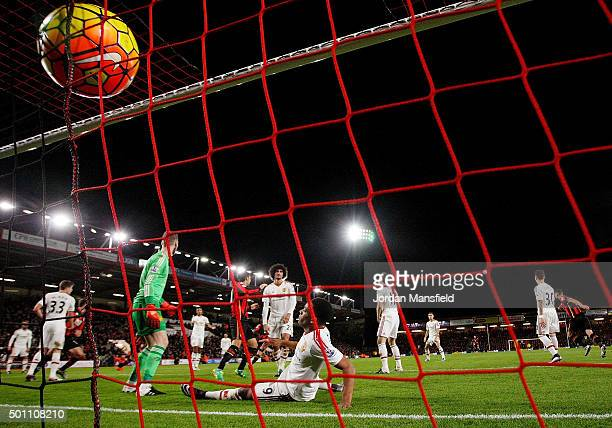 Joshua King of Bournemouth scores his team's second goal during the Barclays Premier League match between AFC Bournemouth and Manchester United at...
