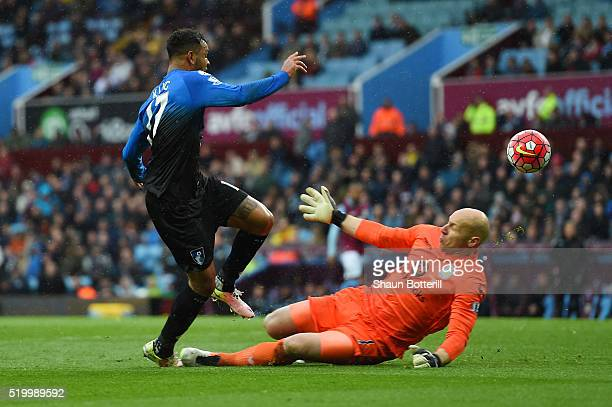 Joshua King of Bournemouth scores his team's second goal past Brad Guzan of Aston Villa during the Barclays Premier League match between Aston Villa...