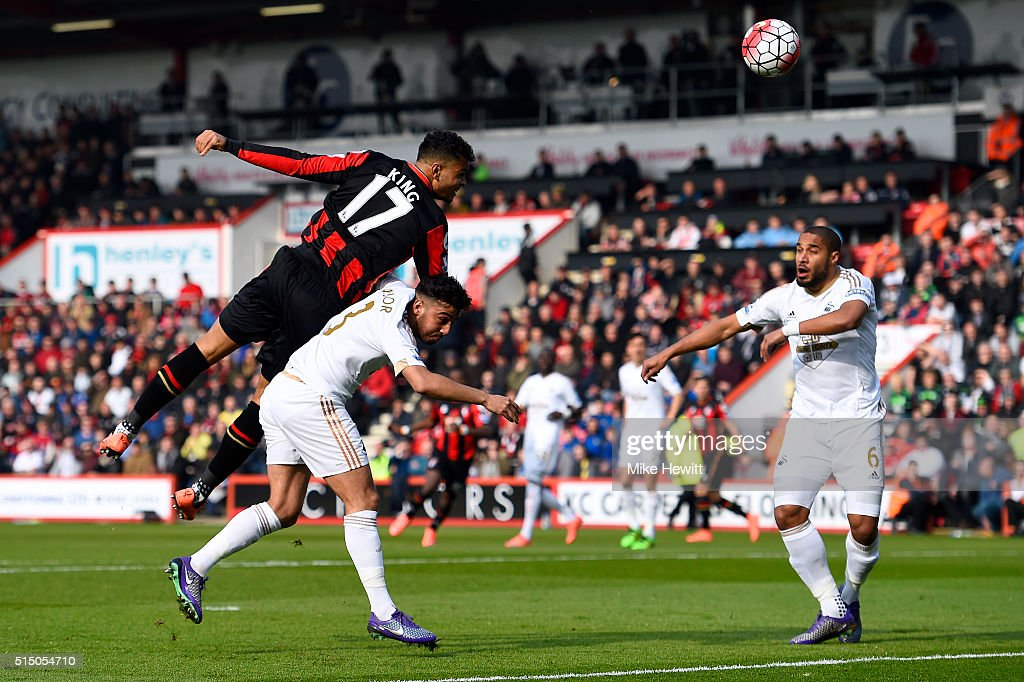 Joshua King of Bournemouth shoots at goal during the Barclays Premier League match between AFC Bournemouth and Swansea City at Vitality Stadium on...