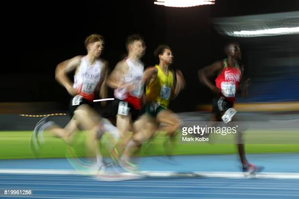Joshua Lay of England Luke Duffy of England Jackson Sharp of Australia and John Waweru of Kenya compete in the boy's 1500m Final during the Athletics...