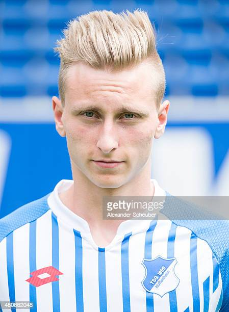 Joshua Mees poses during the team presentation of 1899 Hoffenheim at Wirsol RheinNeckarArena on July 14 2015 in Sinsheim Germany