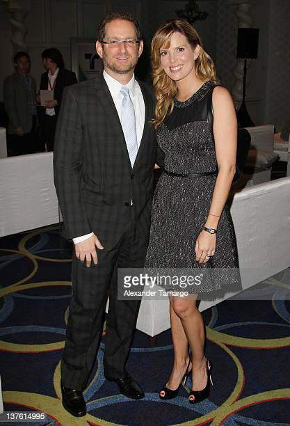 Joshua Mintz and Maritza Rodriguez attend Telemundo Press Event At NATPE 2012 at Eden Roc a Renaissance Beach Resort and Spa on January 23 2012 in...