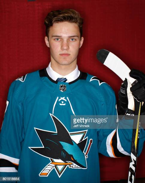 Joshua Norris ninth overall pick of the San Jose Sharks poses for a portrait during Round One of the 2017 NHL Draft at United Center on June 23 2017...