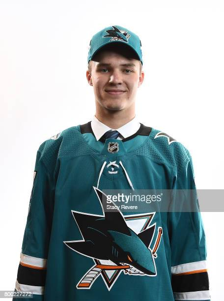 Joshua Norris poses for a portrait after being selected 19th overall by the San Jose Sharks during the 2017 NHL Draft at the United Center on June 23...