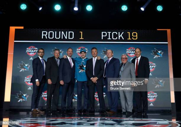 Joshua Norris poses for photos after being selected 19th overall by the San Jose Sharks during the 2017 NHL Draft at the United Center on June 23...