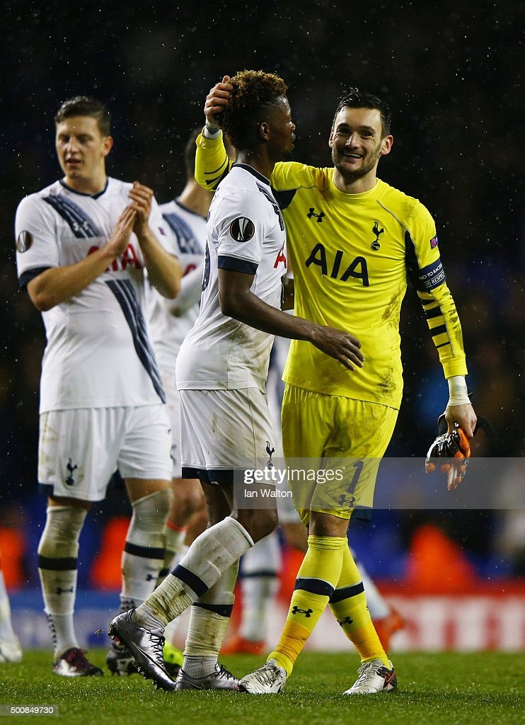 Joshua Onomah and Hugo Lloris of Spurs celebrate following their team's 4-1 victory during the UEFA Europa League Group J match between Tottenham Hotspur and AS Monaco at White Hart Lane on December 10, 2015 in London, United Kingdom.