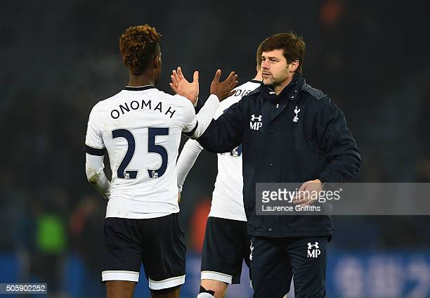 Joshua Onomah of Spurs and Mauricio Pochettino the manager of Spurs celebrate following their team's 20 victory during the Emirates FA Cup Third...
