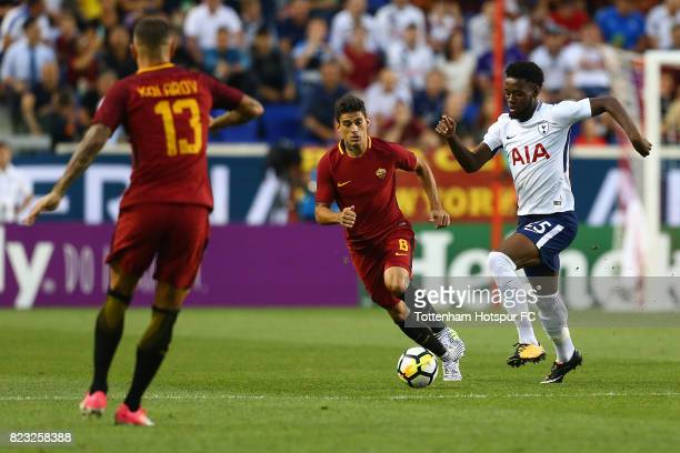 Joshua Onomah of Tottenham Hotspur in action against Roma during the International Champions Cup 2017 at Red Bull Arena on July 25 2017 in Harrison...