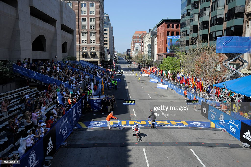 Joshua R Cassisdy of Toronto Ontario winning the mens wheelchair division of the 116th Boston Marathon in Copley Square Boston MA on April 162012