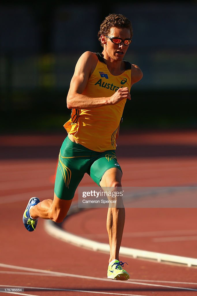 Joshua Ralph of Australia sprints at the Northern Arena training track ahead of the 14th IAAF World Athletics Championships Moscow 2013 on August 8, 2013 in Moscow, Russia.