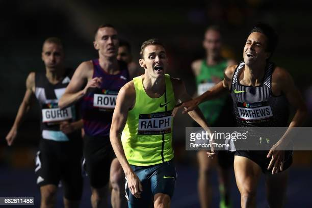 Joshua Ralph of NSW and Luke Matthews of Victoria compete in the Men's 800 Metre Open Final during day seven of the Australian Athletics...