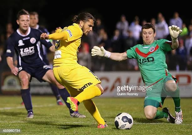 Joshua Risdon of Glory shoots for goal during the FFA Cup match between St Albans Saints and Perth Glory at Knights Stadium on September 23 2014 in...