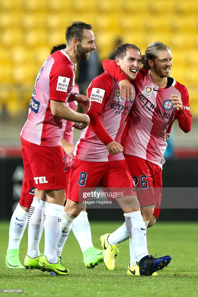 Joshua Rose, Neil Kilkenny and Luke Brattan of Melbourne City celebrate Kilkenny's first A-League goal during the round 20 A-League match between the Wellington Phoenix and Melbourne City at Westpac Stadium on February 18, 2017 in Wellington, New Zealand.