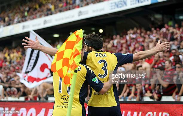Joshua Rose of the Mariners celebrates a goal during the round 25 ALeague match between the Central Coast Mariners and the Western Sydney Wanderers...