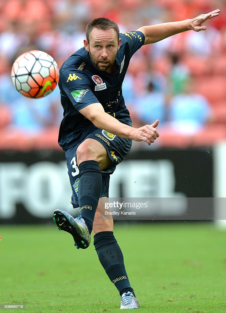 Joshua Rose of the Mariners kicks the ball during the round 18 A-League match between the Brisbane Roar and Central Coast Mariners at Suncorp Stadium on February 6, 2016 in Brisbane, Australia.