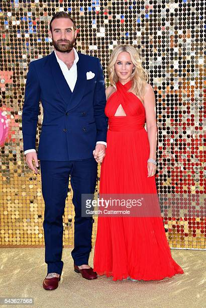 Joshua Sasse and Kylie Minogue attend the 'Absolutely Fabulous The Movie' World Premiere at the Odeon Leicester Square on June 29 2016 in London...