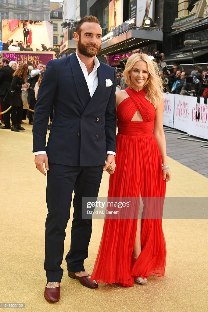 Joshua Sasse (L) and Kylie Minogue attend the World Premiere of 'Absolutely Fabulous: The Movie' at Odeon Leicester Square on June 29, 2016 in London, England.