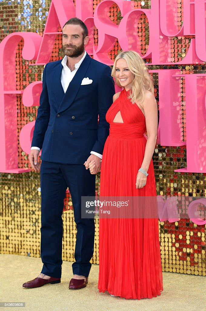 Joshua Sasse and Kylie Minogue attend the World Premiere of 'Absolutely Fabulous: The Movie' at Odeon Leicester Square on June 29, 2016 in London, England.