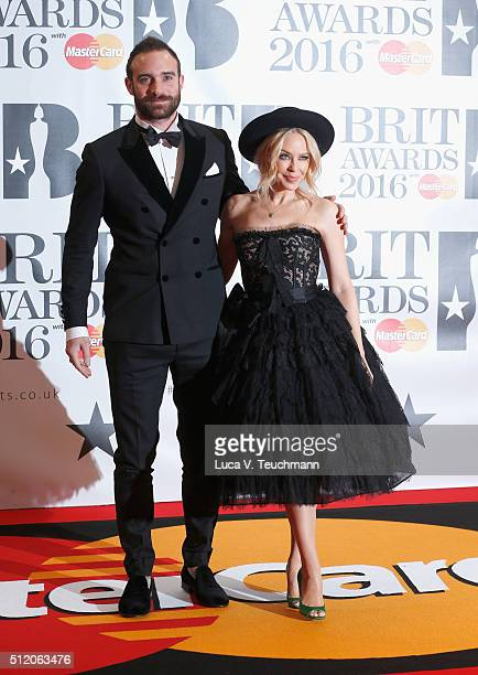 Joshua Sasse and Kylie Minogue attends the BRIT Awards 2016 at The O2 Arena on February 24 2016 in London England