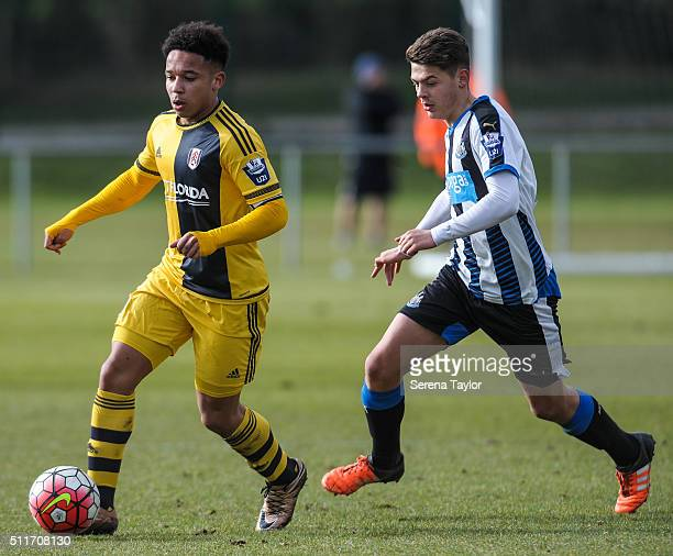 Joshua Smile of Fulham controls the ball whilst being pursued by Lewis McNall of Newcastle during The Barclays Under 21 Premier League match between...