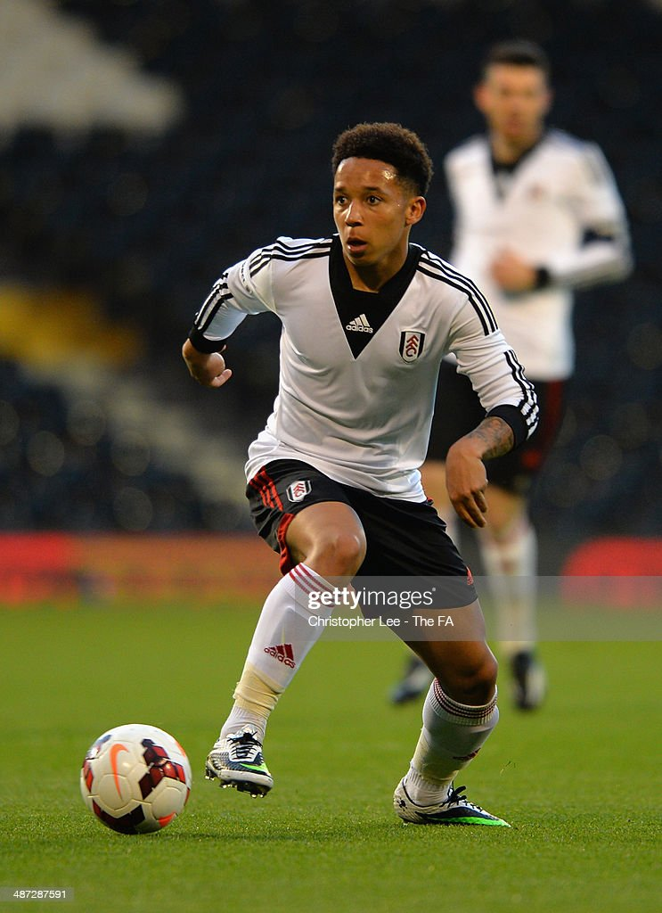 Joshua Smile of Fulham U18 in action during the FA Youth Cup Final First Leg match between Fulham U18 and Chelsea U18 at Craven Cottage on April 28, 2014 in London, England.