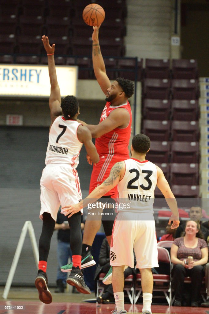 Joshua Smith 332 of the Rio Grande Valley Vipers shoots the ball against the Raptors 905 during Game Two of the D-League Finals at the Hershey Centre on April 25, 2017 in Mississauga, Ontario, Canada.