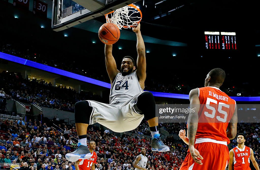Joshua Smith of the Georgetown Hoyas dunks in the second half Utah Utes during the third round of the 2015 NCAA Men's Basketball Tournament at Moda...