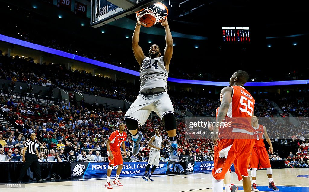 Joshua Smith #24 of the Georgetown Hoyas dunks in the second half Utah Utes during the third round of the 2015 NCAA Men's Basketball Tournament at Moda Center on March 21, 2015 in Portland, Oregon.