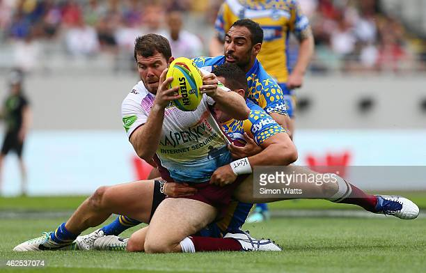 Joshua Starling of the Sea Eagles scores a try during the match between the ManlyWarringah Sea Eagles and the Parramatta Eels in the 2015 Auckland...